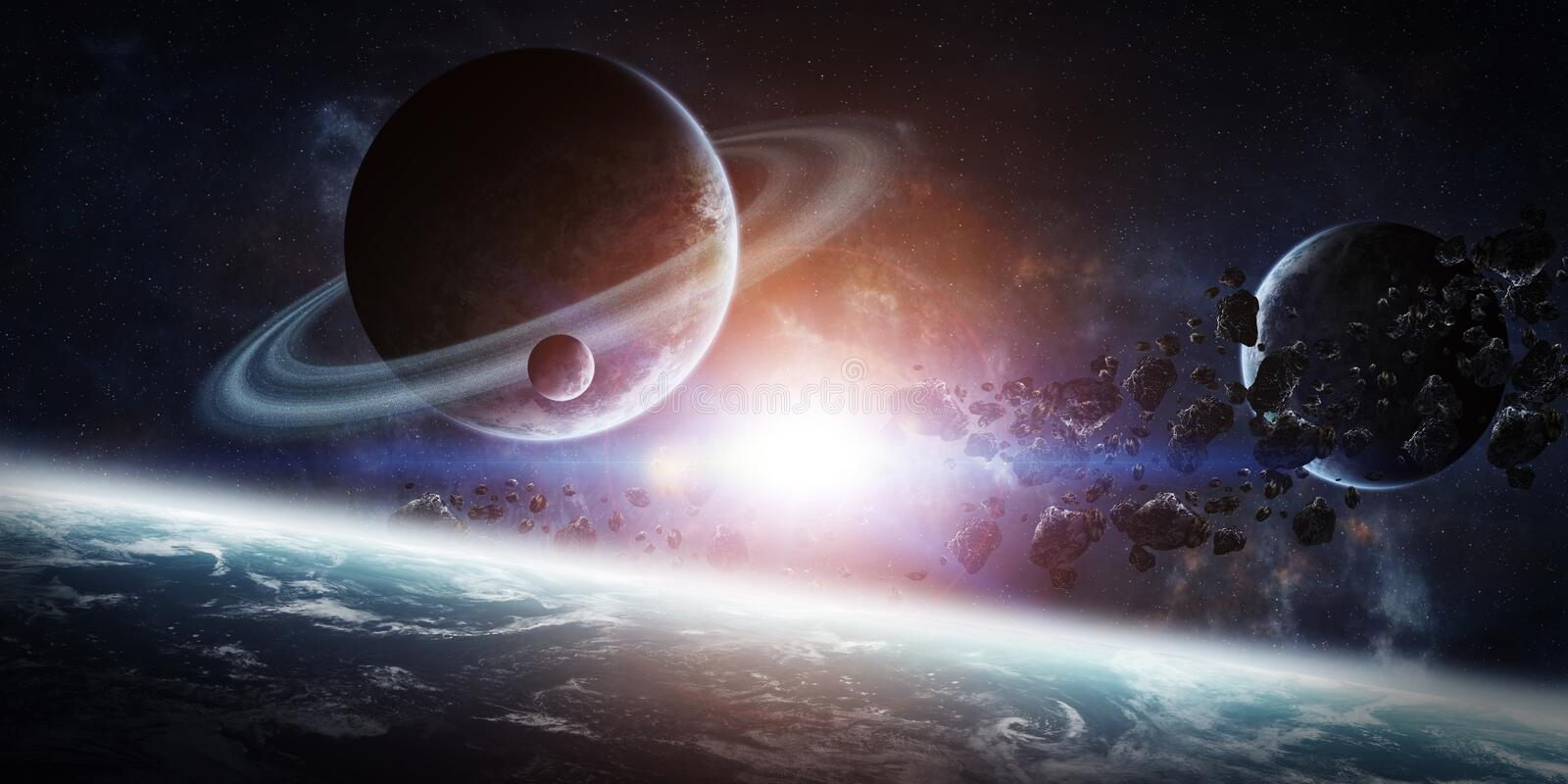 Sunrise over group of planets in space stock illustration