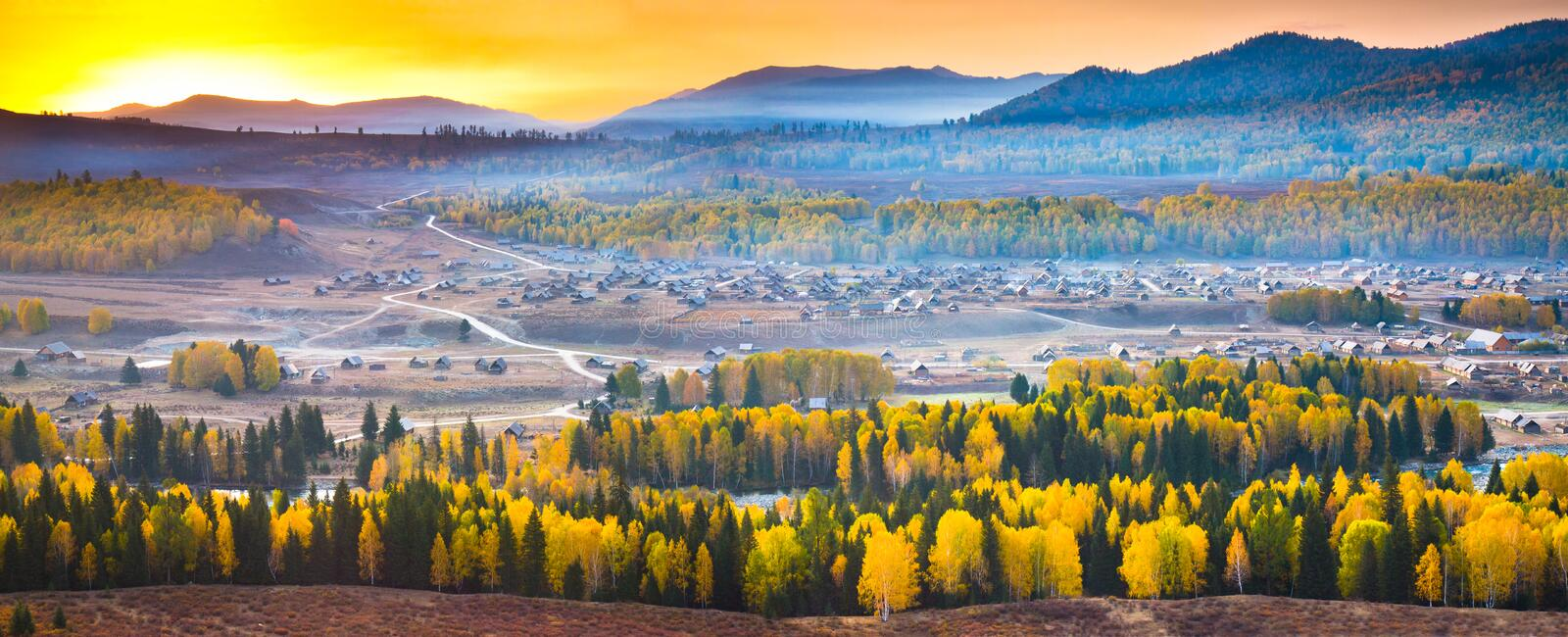 Sunrise Over Hemu Village, Xinjiang China Stock Images