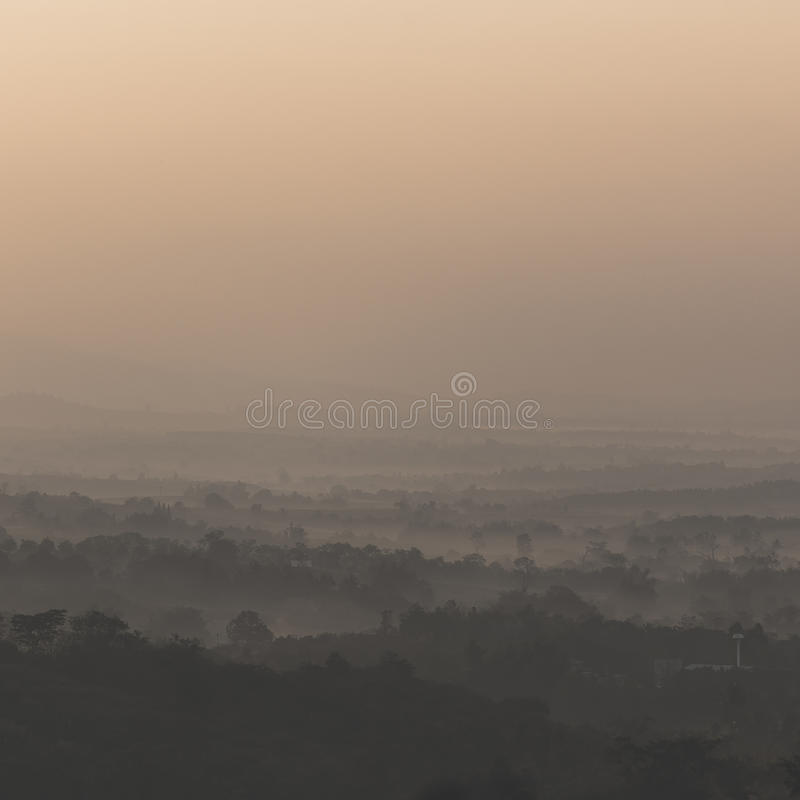 Sunrise over the hills stock photography