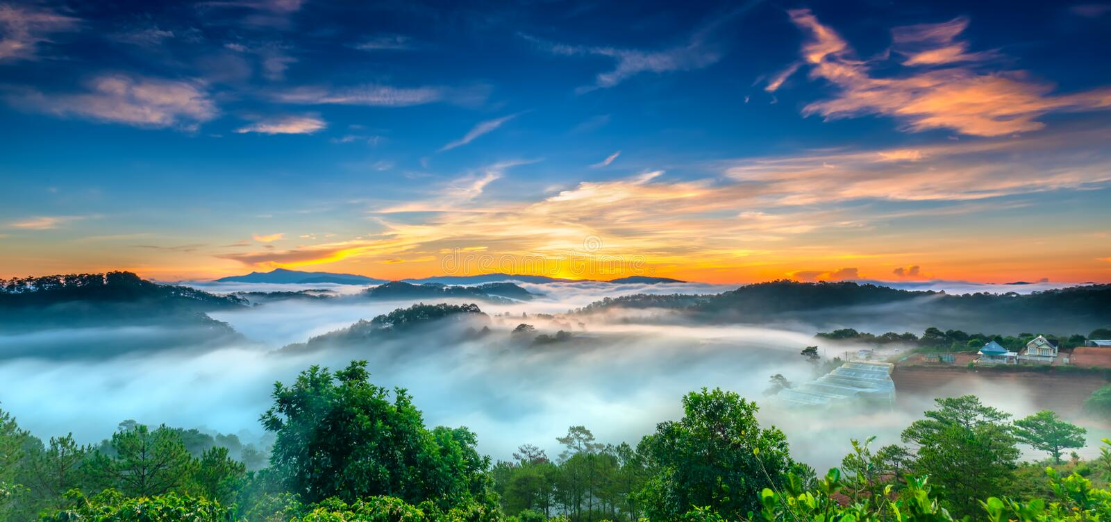 Sunrise over hillside as the sun rising from horizon reflect light bright yellow sky. Below cloudy mist covered valleys flooded pine forests create impressive stock photo