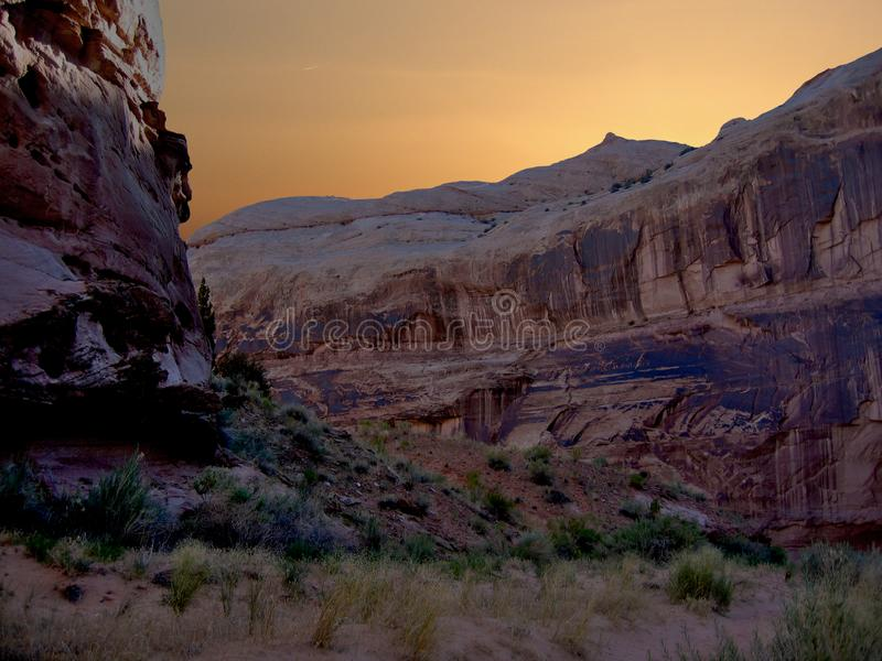 Sunrise over Horseshoe Canyon Trail. The 7.2 mile trail in Horseshoe Canyon. Located in the Maze section of Canyonlands, this trail leads to the Great Gallery royalty free stock photo