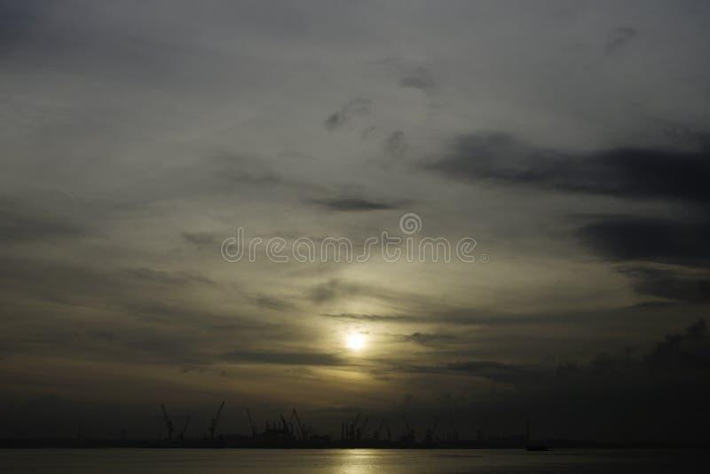 Sunrise over Johor Straits stock images
