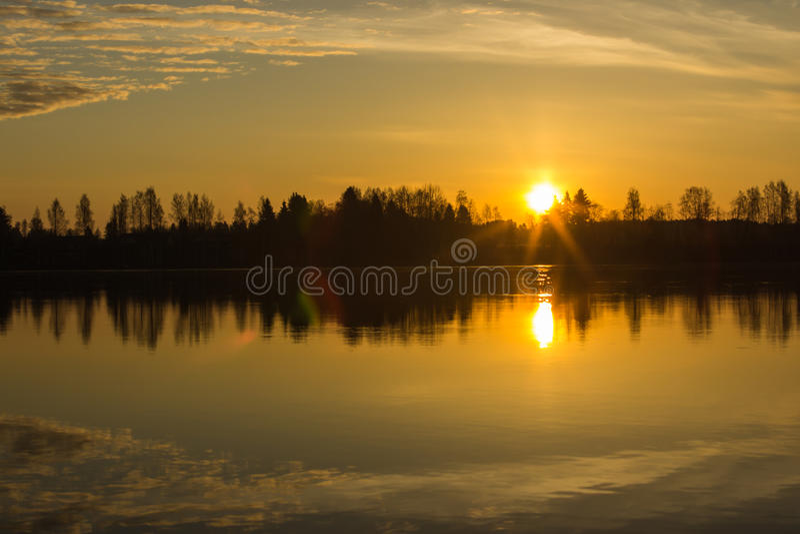 Sunrise over Kokemäenjoki river, Finland 2 royalty free stock photo