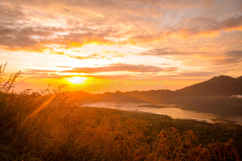 Sunrise over lake Batur. Beautiful sunrise over lake Batur in Kintamani, Bali, Indonesia stock photography