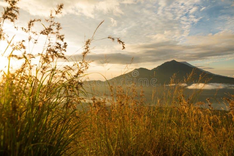 Sunrise over lake Batur. Beautiful sunrise over lake Batur in Kintamani, Bali, Indonesia royalty free stock photo