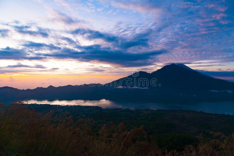 Sunrise over lake Batur. Beautiful sunrise over lake Batur in Kintamani, Bali, Indonesia royalty free stock photos