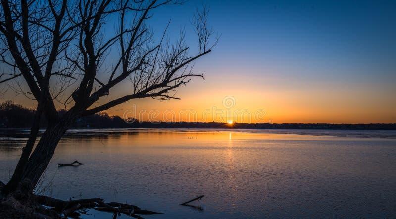 Sunrise over lake in Madison, Wisconsin royalty free stock photo
