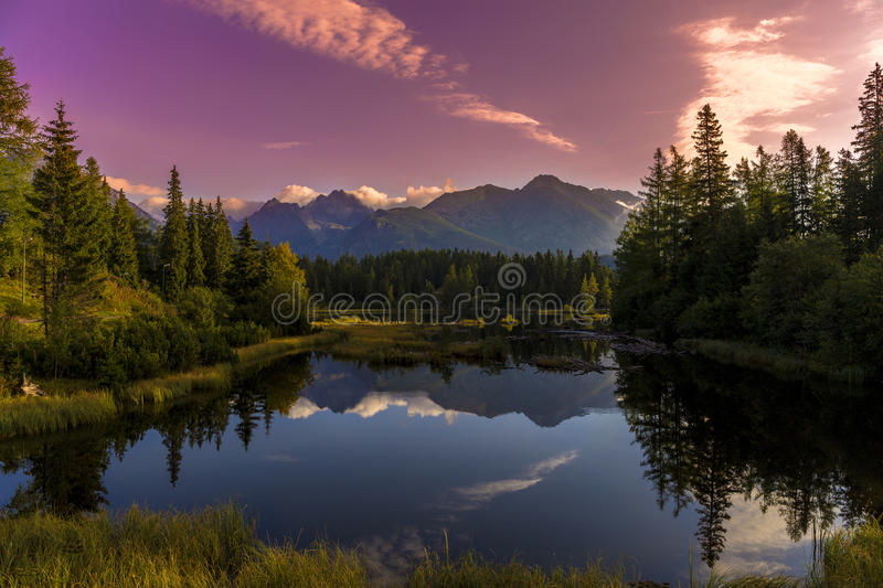 The sunrise over a lake royalty free stock photos