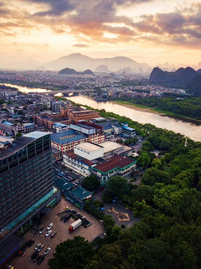 Sunrise over Li river in Guilin, China aerial view. Beautiful sunrise over Li river in Guilin, China aerial view stock image
