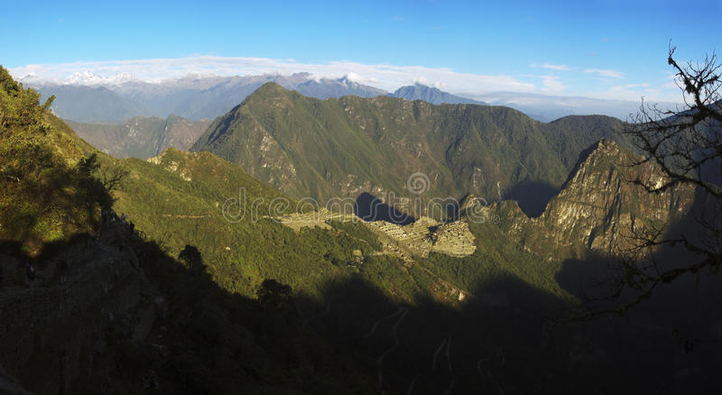 Sunrise over Machu Picchu stock photography