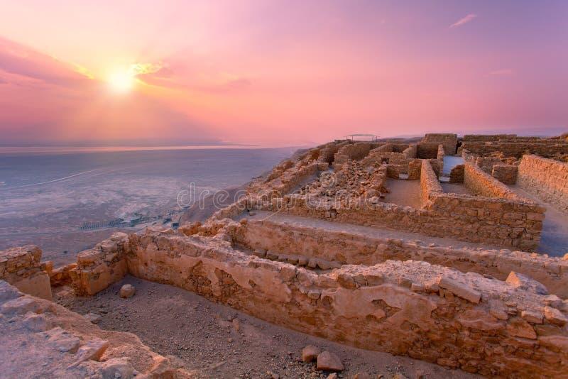 Sunrise over Masada fortress stock photos