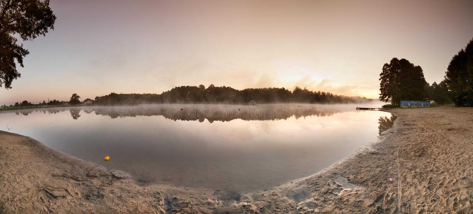 Download Sunrise Over The Misty Lake Panorama Stock Image - Image: 32212389