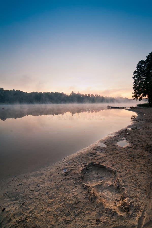 Sunrise Over The Misty Lake Royalty Free Stock Photography