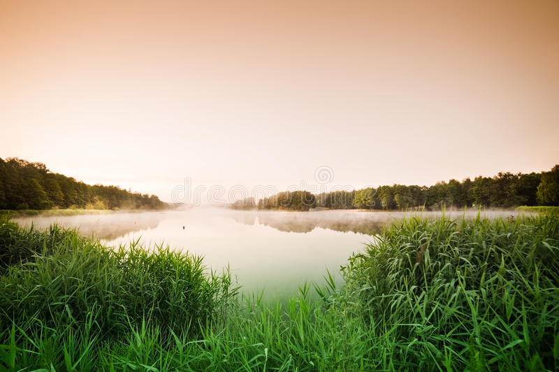 Download Sunrise Over The Misty Lake Stock Photo - Image: 32212906