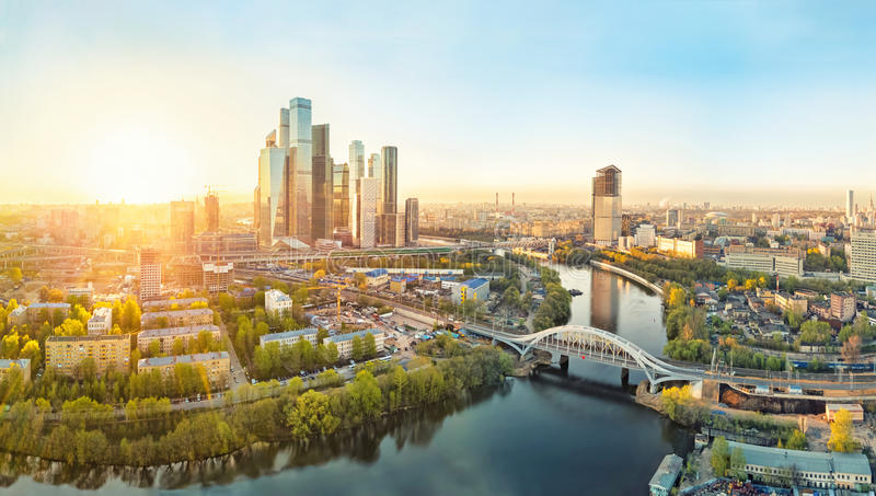 Sunrise over Moscow City stock photography