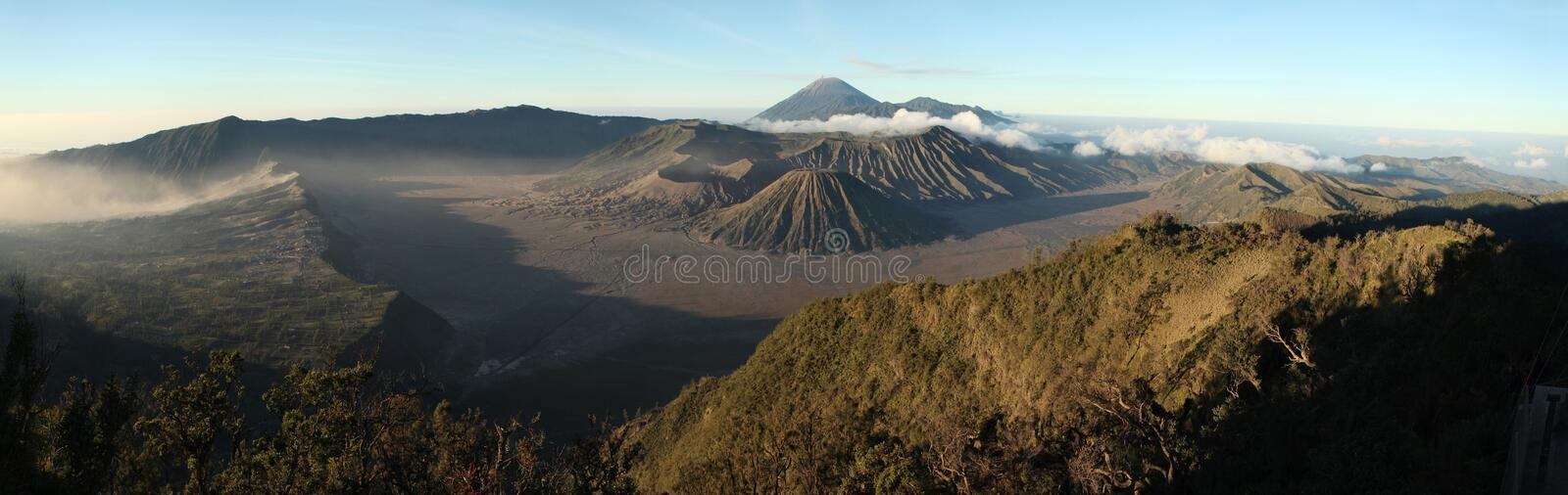 Sunrise over Mount Bromo and the Tengger Caldera in East Java, I. Sunrise over Mount Bromo (2,329 m) and the Tengger Caldera in East Java, Indonesia. Panorama royalty free stock image