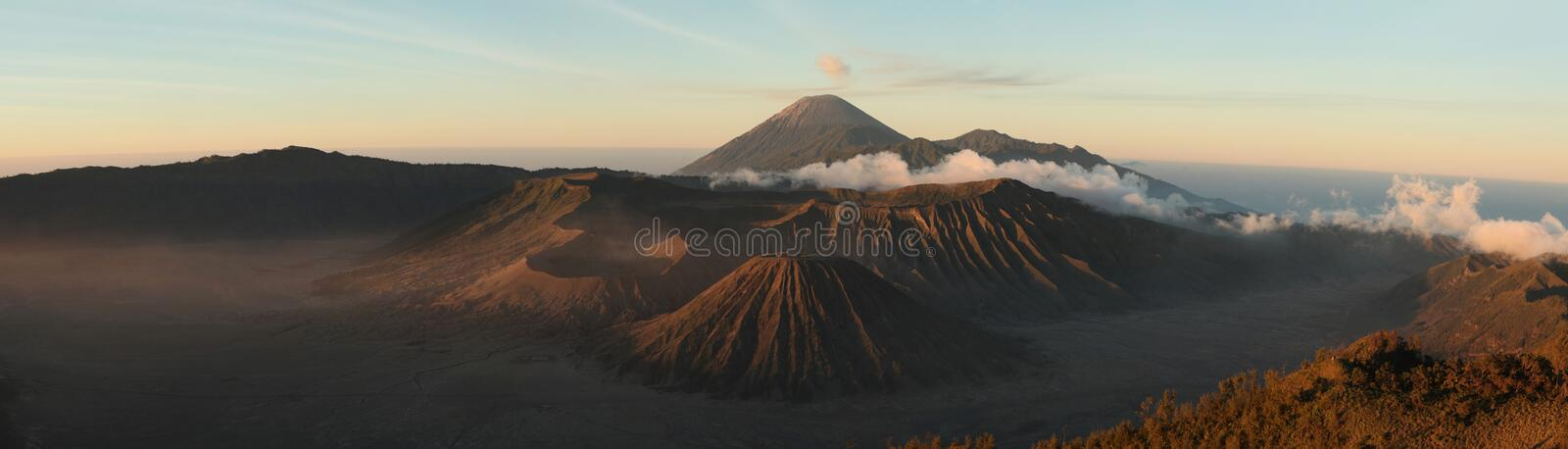 Sunrise over Mount Bromo and the Tengger Caldera in East Java, I. Sunrise over Mount Bromo (2, 329 m) and the Tengger Caldera in East Java, Indonesia. Panorama royalty free stock images