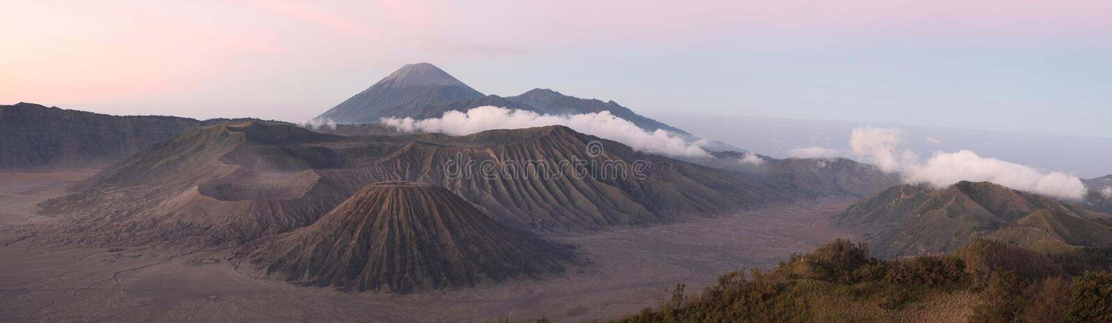 Sunrise over Mount Bromo and the Tengger Caldera in East Java, I. Sunrise over Mount Bromo (2,329 m) and the Tengger Caldera in East Java, Indonesia. Panorama stock image