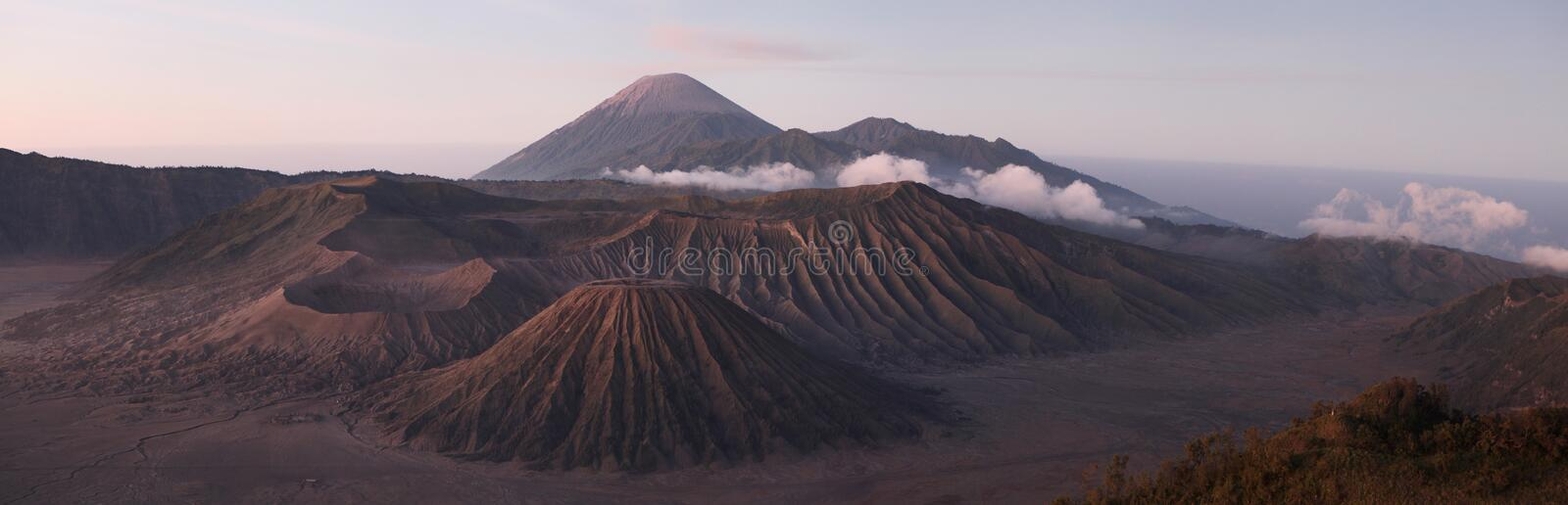 Sunrise over Mount Bromo and the Tengger Caldera in East Java, I. Sunrise over Mount Bromo (2,329 m) and the Tengger Caldera in East Java, Indonesia. Panorama royalty free stock photo