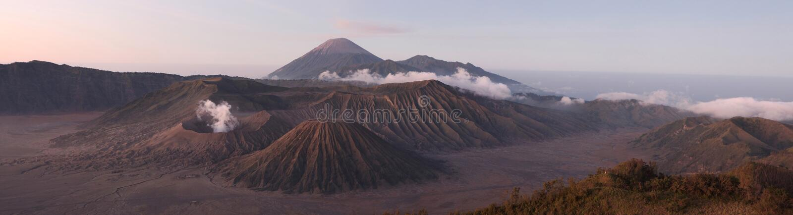 Sunrise over Mount Bromo and the Tengger Caldera in East Java, I. Sunrise over Mount Bromo (2,329 m) and the Tengger Caldera in East Java, Indonesia. Panorama royalty free stock images