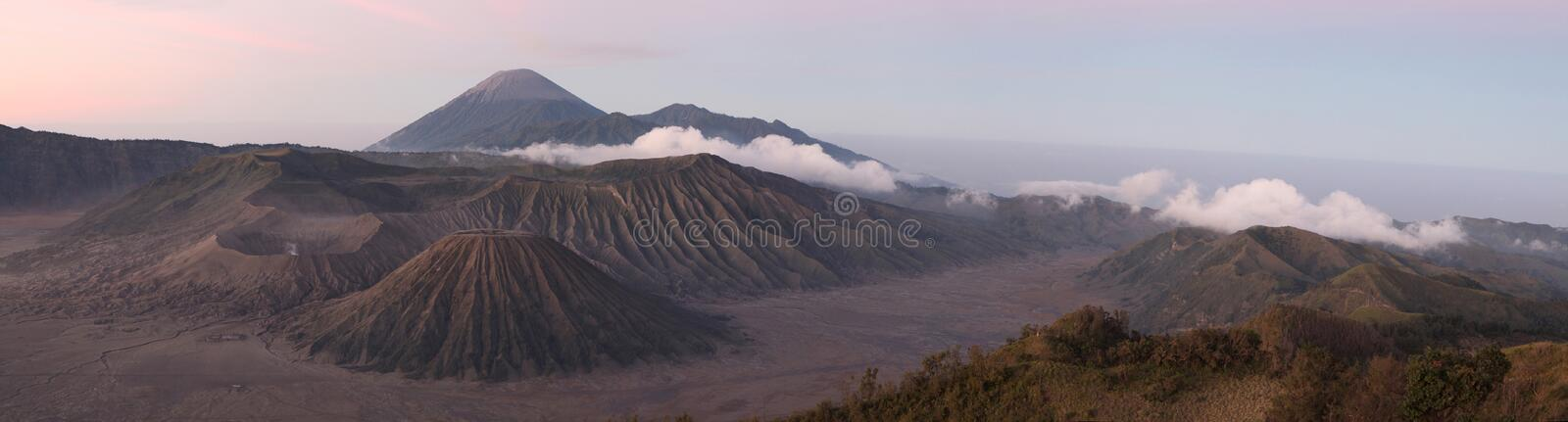 Sunrise over Mount Bromo and the Tengger Caldera in East Java, I. Sunrise over Mount Bromo (2,329 m) and the Tengger Caldera in East Java, Indonesia. Panorama stock images