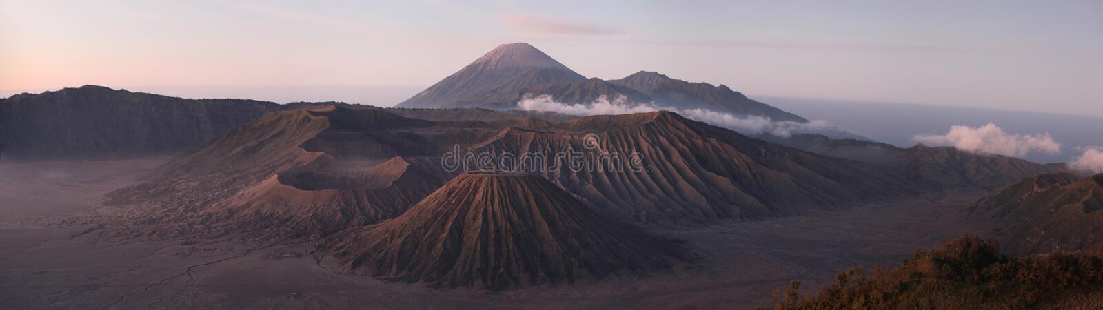 Sunrise over Mount Bromo and the Tengger Caldera in East Java, I. Sunrise over Mount Bromo 2,329 m and the Tengger Caldera in East Java, Indonesia. Panorama from royalty free stock photos