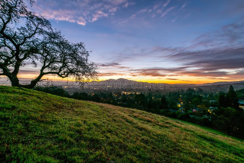 Sunrise over Mount Diablo and the East Bay. The sun rises over Mount Diablo, a geographic landmark to California`s East Bay royalty free stock photography