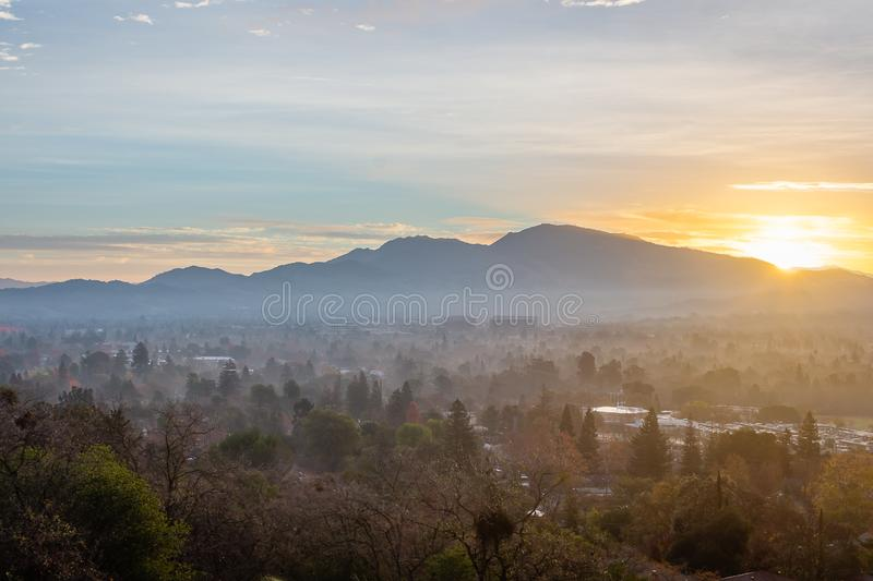 Sunrise over Mount Diablo and the East Bay. The sun rises over Mount Diablo, a geographic landmark to California`s East Bay royalty free stock photo