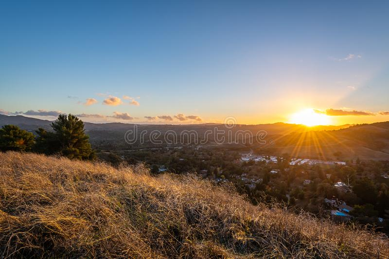 Sunrise over Mount Diablo and the East Bay. The sun rises over Mount Diablo, a geographic landmark to California`s East Bay stock photo