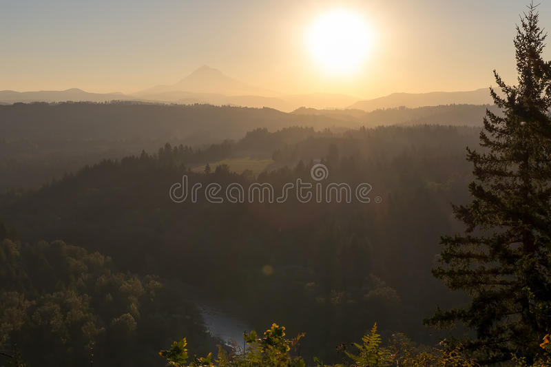 Sunrise over Mount Hood and Sandy River in Oregon stock photos