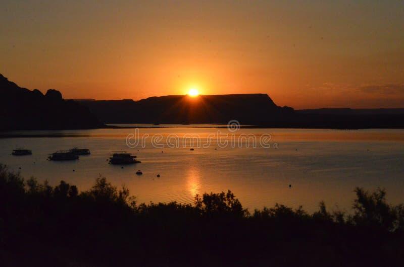 Sunrise over a mountain stock image