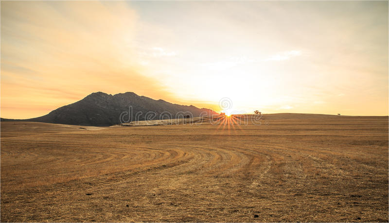 Sunrise over a mountain in South Africa royalty free stock image