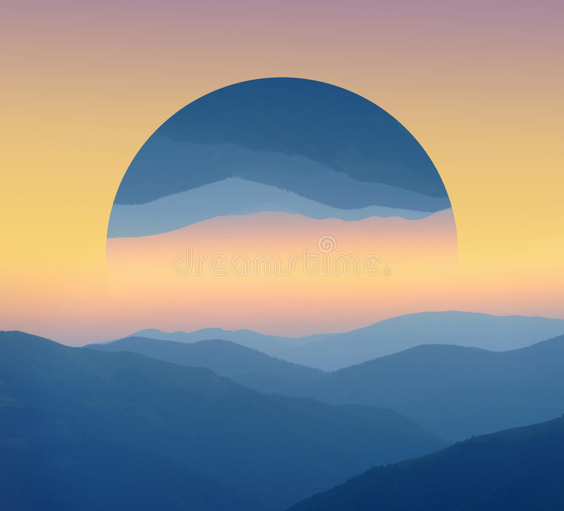 Sunrise over mountains silhouettes. Geometric reflections effect royalty free illustration