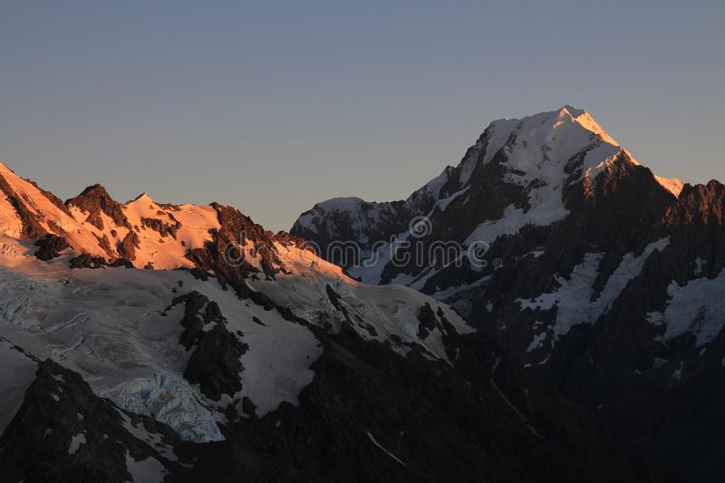Sunrise over Mt Cook. Morning in the Southern Alps. Mount Cook at sunrise. View from the Sealy Tarns Track stock photos