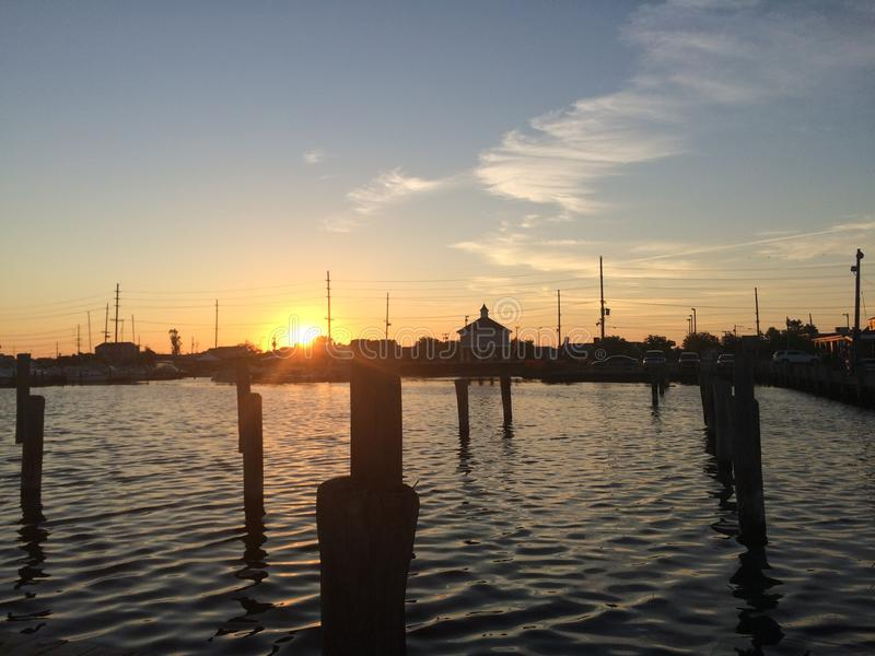 Sunrise over New Jersey Bay stock photography