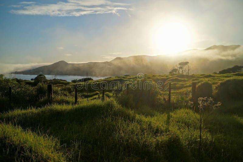 Sunrise over New Zealand stock photos