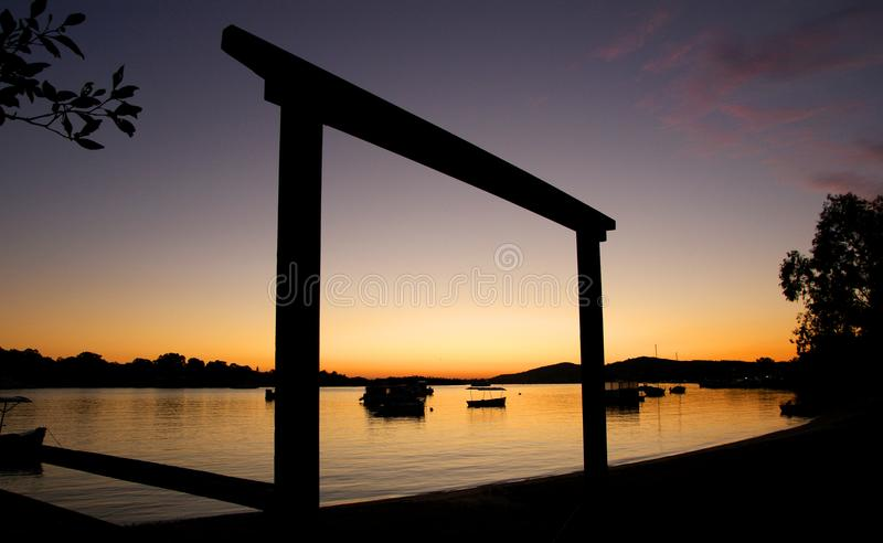 Sunrise over the Noosa River. royalty free stock images