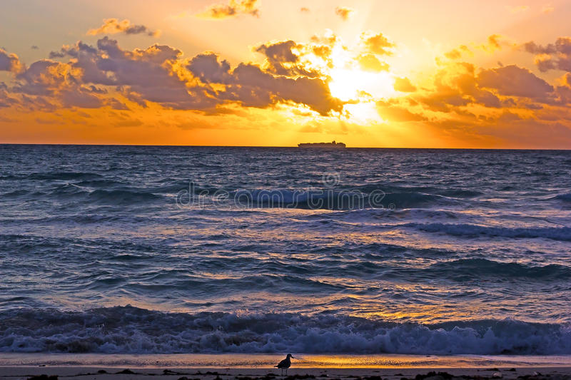 Download Sunrise Over The Ocean With Clouds. Stock Photo - Image: 41077888