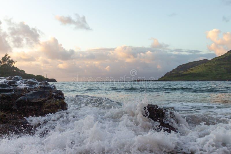Sunrise over the ocean in Kauai, Hawaii royalty free stock image