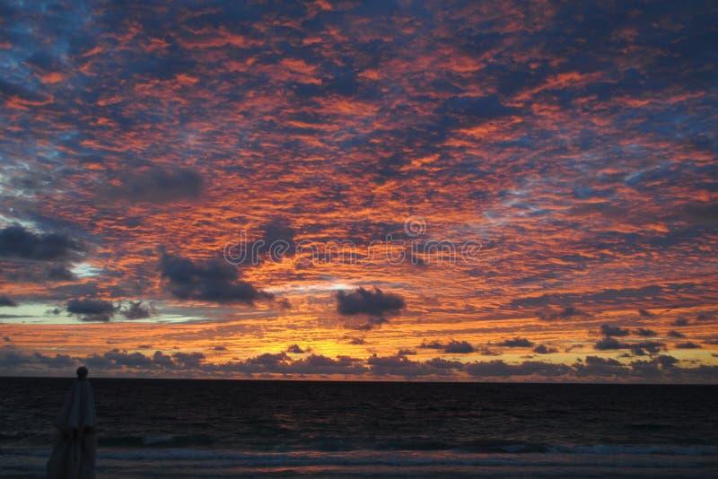 Sunrise over the ocean, Tulum, Mexico stock photography