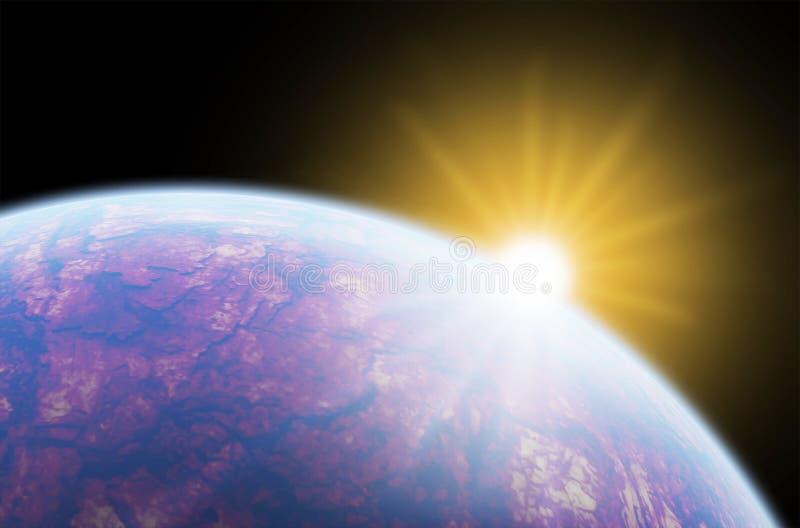 Sunrise over planet stock photo