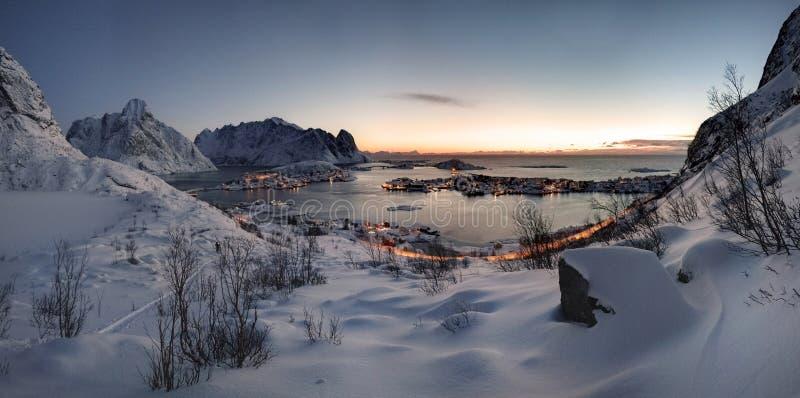 Sunrise over Reine in Lofoten, Norway stock image