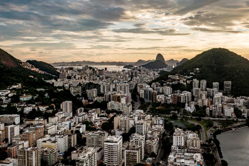Sunrise over Rio De Janeiro, Brazil.  royalty free stock images