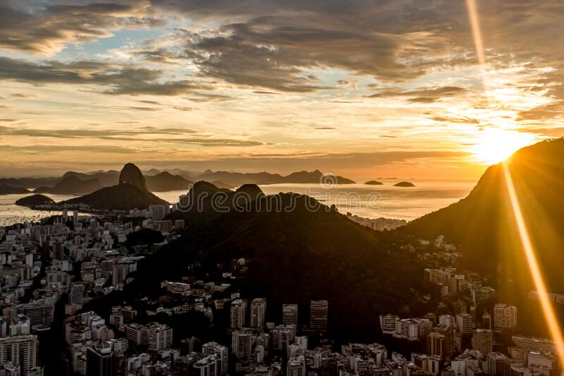 Sunrise over Rio De Janeiro, Brazil.  royalty free stock photography