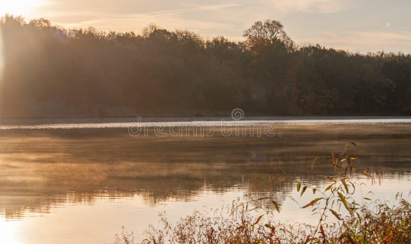 Sunrise over River in Autumn stock photo