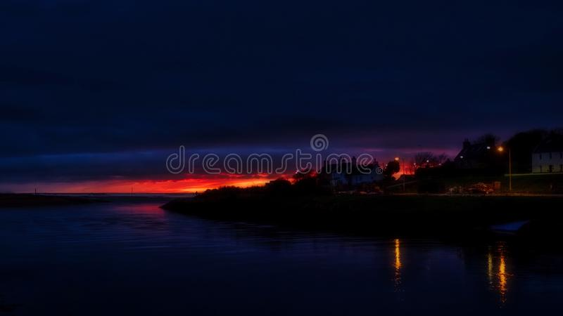 Sunrise over the River Brora stock photography