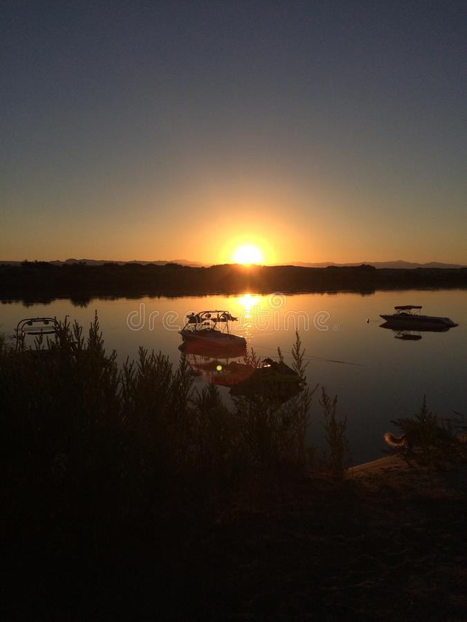 Sunrise over the river royalty free stock photography