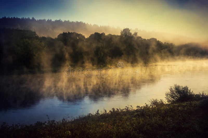 Sunrise over river Neris stock photography