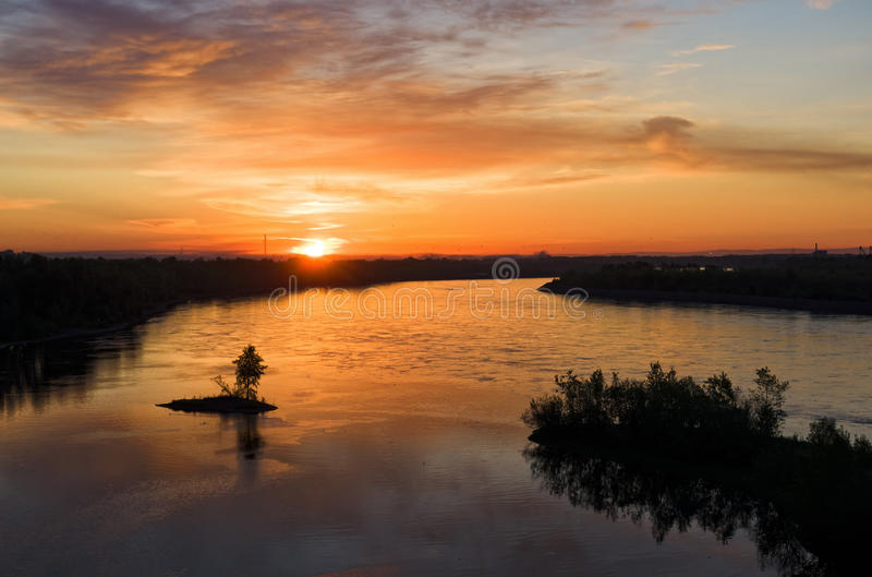 Sunrise over the river stock photos