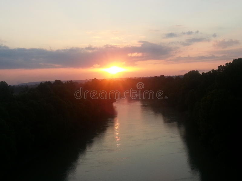 Sunrise over the river stock image